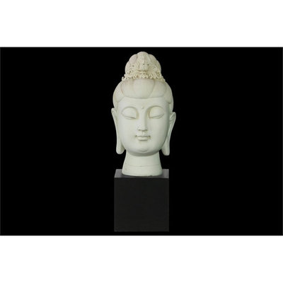 Resin Buddha Head with Floral Ushnisha on Base Gloss Finish Cream