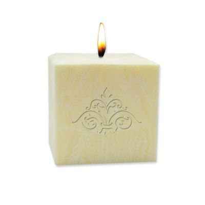 Carved Solutions Eco-Luxury Pure Aromatherapy 3-Inch Palm Wax Damask Pillar Candle in Champagne