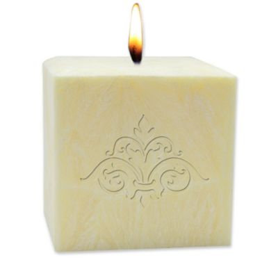Carved Solutions Eco-Luxury Pure Aromatherapy 4-Inch Palm Wax Damask Pillar Candle in Champagne