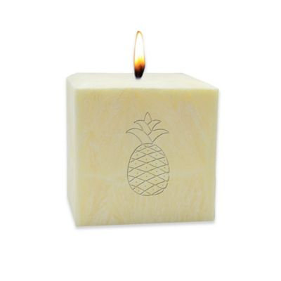 Carved Solutions Eco-Luxury Pure Aromatherapy Palm Wax Pineapple 3-Inch Pillar Candle in Champagne
