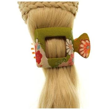 Annie Loto Sudios Jewelry Green Square Large Kimono Clip Hair Accessory Style, 2.25 in. - 345A