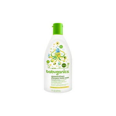 Babyganics Squeeze & Foam Shampoo & Body Wash Chamomile Verbena 7 fl oz