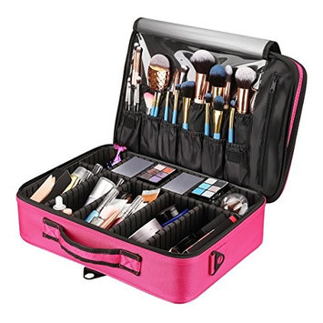 Fabric Travel Makeup Train Case Cosmetic Organizer, Spacious Storage Bag with DIY Compartments Dividers Makeup Brush Slots for Cosmetics Brushes Toiletries Jewelry Electronic Accessories