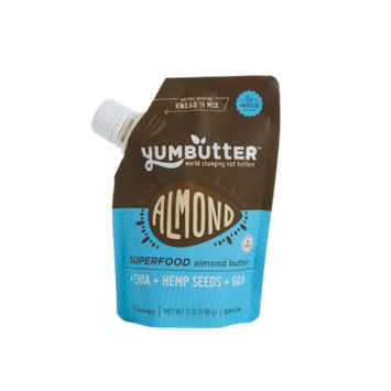 Yumbutter Go Superfood Almond Butter Spread with Chia, Hemp Seeds & Goji, 7 oz, (Pack of 6)