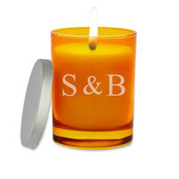 Carved Solutions Gem Collection Unscented Ampersand Initals Topaz Soy Wax Glass Candle