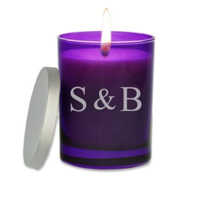 Carved Solutions Gem Collection Unscented Ampersand Initals Amethyst Soy Wax Glass Jar Candle
