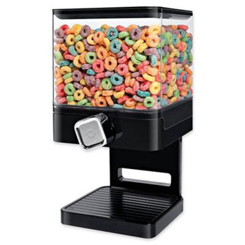 Single Compact Cereal Dispenser in Black with chrome knob