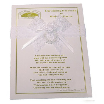 Little Things Mean a Lot Girls Christening Headband to Wedding Garter - One Size/White