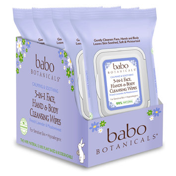 Babo 3-in-1 Calming Face, Hand, Body Wipes - Lavender & Meadowsweet (4 Pack)