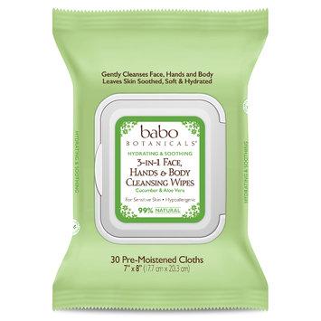 Babo 3-in-1 Hydrating Face, Hand, Body Wipes - Cucumber & Aloe Vera