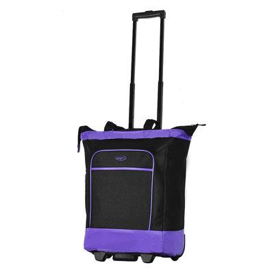 Olympia Deluxe Fashion Rolling Shopper Tote - Purple
