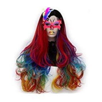 SEIKEA Rainbow Hair Wig Long Wavy with Root Bright Color