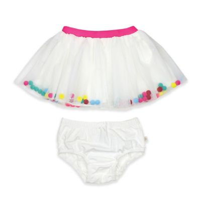 Rosie Pope® Size 24M Pom Pom Tutu and Diaper Cover Set in White/Pink