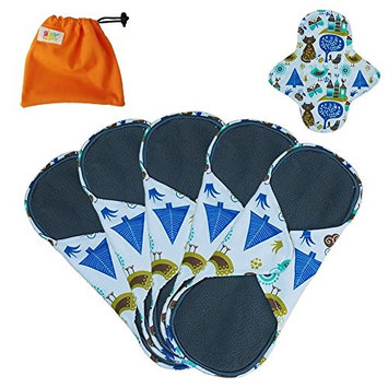 Women Bamboo Charcoal 8-11 Inch 3 Sizes Reusable Cloth Sanitary Pads Washable Nipkins (5 Pack), Breathable,Size:S,M,L