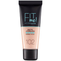 Maybelline Fit Me Matte Poreless Foundation Provides Smooth 102 Fair Ivory 30ml