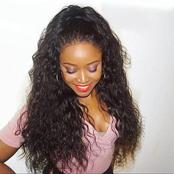Coco's Hair Human Hair Lace Front Water Wave Wigs Glueless 130% Density Brazilian Virgin Remy Wigs with Baby Hair Narutal Color 14 inch
