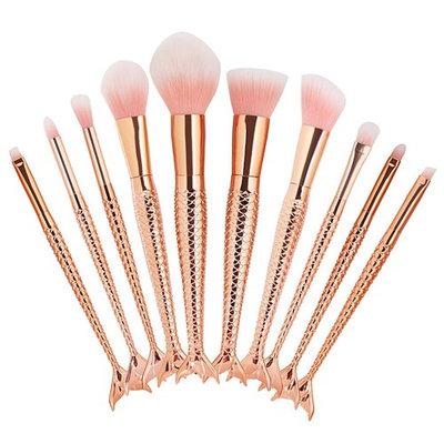 Iskas 10pcs Mermaid Makeup Brush Set Soft Nylon Bristles Beauty Brushes Kit Foundation Blending Blush Concealer Contour Cosmetic Tools - Champagne