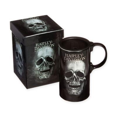 Hot Wheels Harley-Davidson Tall Boy Travel Latte Mug, H-D Skull, Gift Box Set 3TBT4906