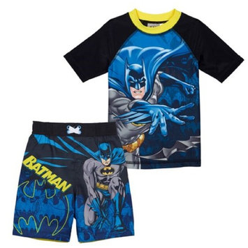 Character Boys' Swim Rashguard and Swim Short Set (Batman, 2T)