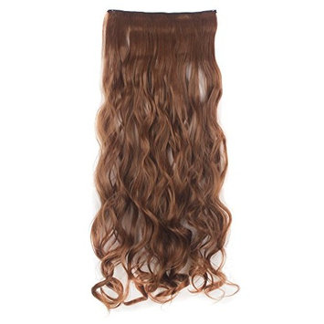 FIRSTLIKE 24 Inches Long Curly 3/4 Full Head One Piece 5 Clip Clip in Hair Extensions (Light brown)