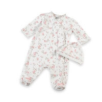 Little Me Vintage Rose Footie with Cap