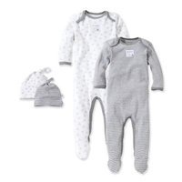 Burt's Bees Baby® Size 6M Grey & Bee 2-Pack Footie Pajama with Hat in Grey