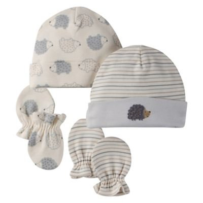 Gerber 4-Piece Organic Cotton Hedgehog Cap and Mitt Set in Grey