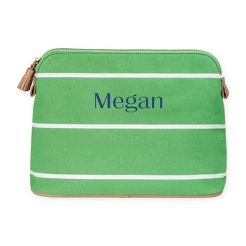 Cathys Concepts Personalized Green Striped Cosmetic Bag