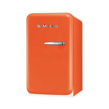 Smeg FAB5ULO 1.5 cu. ft. Compact Refrigerator with 2 Adjustable Wire Shelves, Balcony Door Shelf, Bottle Door Shelf, Absorption Cooling, LED Internal Light and Ice Cube Tray: Orange, Left Hinge Door Swing