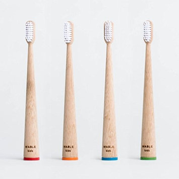 MABLE Stocking Stuffer Kids Bamboo Toothbrush, Self-Standing, Non-Toxic Soft Bristles (4 Pack)