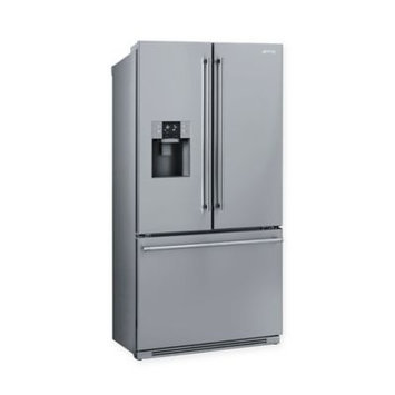 Smeg FTU171X7 36 Inch French Door Refrigerator with 18.4 cu. ft. Capacity, Glass Shelves, 6 Door Bins, Humidity Controlled Crispers, Speed Cool, Speed Freeze, Egg Tray, LED Lighting, Ice and Water Dispenser, Frost Free Operation and ENERGY STAR Qualification