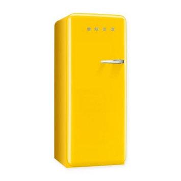 Smeg 50's Retro Design FAB28UYWL1 9.22 cu. ft. 50's Style Refrigerator with Adjustable Glass Shelves, Wine Bottle Shelf, Crisper Drawer, Adjustable Door Bins, Manual Defrost and Freezer Compartment: Yellow, Left Hinge Door Swing