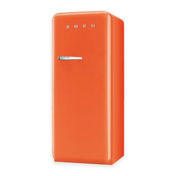 Smeg 50's Retro Design FAB28UORL1 9.22 cu. ft. 50's Style Refrigerator with Adjustable Glass Shelves, Wine Bottle Shelf, Crisper Drawer, Adjustable Door Bins, Manual Defrost and Freezer Compartment: Orange, Left Hinge Door Swing