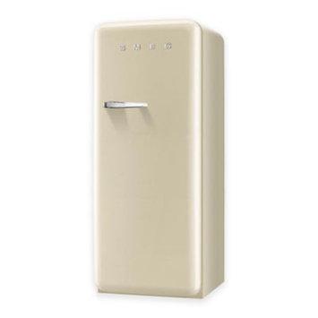 Smeg 50's Retro Design FAB28UCRL1 9.22 cu. ft. 50's Style Refrigerator with Adjustable Glass Shelves, Wine Bottle Shelf, Crisper Drawer, Adjustable Door Bins, Manual Defrost and Freezer Compartment: Cream, Left Hinge Door Swing