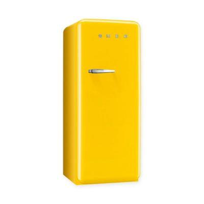 Smeg 50's Retro Design FAB28UYWR1 9.22 cu. ft. 50's Style Refrigerator with Adjustable Glass Shelves, Wine Bottle Shelf, Crisper Drawer, Adjustable Door Bins, Manual Defrost and Freezer Compartment: Yellow, Right Hinge Door Swing