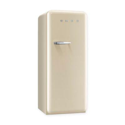 Smeg 50's Retro Design FAB28UCRR1 9.22 cu. ft. 50's Style Refrigerator with Adjustable Glass Shelves, Wine Bottle Shelf, Crisper Drawer, Adjustable Door Bins, Manual Defrost and Freezer Compartment: Cream, Right Hinge Door Swing