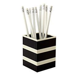 See Jane Work(R) Paperboard Pencil Cup, 3in.H x 3in.W x 4in.D, Black Stripe