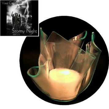 Vase Candle Stormy Night (Set of 3 Candles) and a Clear Satin Refillable Vase (Pack of 4)