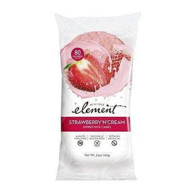 Element Organic Dipped Rice Cakes - Strawberry'N'Cream - Case of 6 - 3.5 oz