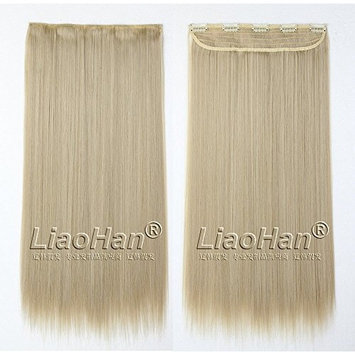 Straight Long Clip in Dirty Blonde Hair Extensions 3/4 Full Head Synthetic Hair Clip in on Blonde Hairpieces