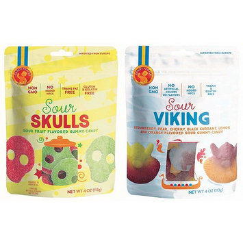 Candy People Sour Skulls and Vikings Sour Fruit Flavored Swedish Gummy Candy 4 Ounce – Non-GMO, No Added High Fructose Corn Syrup