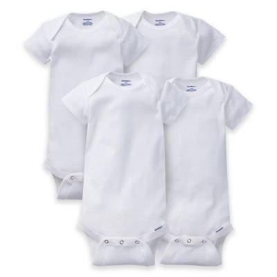 Gerber ONESIES® Brand 4-Pack Short Sleeve Bodysuits in White