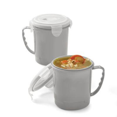 Microwave Soup Mugs in Grey (Set of 2)