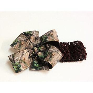 Baby Girls Brown Green Black Camouflage Print Hair Bow on Brown Crochet Headband Camo Hair Bow Toddler Girl Hair Accessories