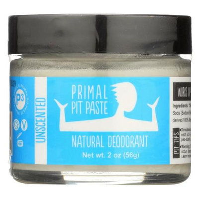 PRIMAL PIT PASTE All Natural Unscented Deodorant 2 Ounce Jar NO Aluminum, NO Parabens Made for Women and Men of All Ages Non-GMO, Cruelty Free, Earth Friendly, BPA Free