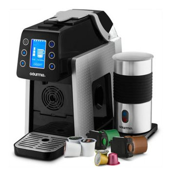 Gourmia® 1-Touch K-Cup Espresso/Coffee Capsule Machine with Milk Frother in Silver