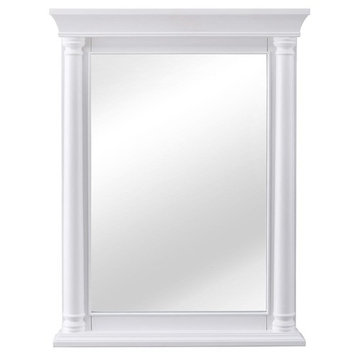 Home Decorators Collection Strousse 24 in. W x 32 in. H Framed Wall Mirror in White