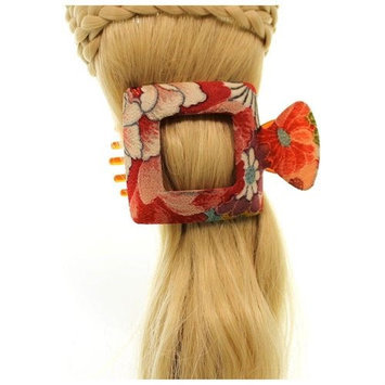 Annie Loto Sudios Jewelry Red Square Large Kimono Clip Hair Accessory Style, 2.25 in. - 345A