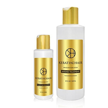 Keratin For Hair brazilian keratin blowout straightening smoothing no formaldehyde 8 ounce Treatment 2 Piece Kit includes 4 ounce Clarifying Shampoo makers of Keratin Cure