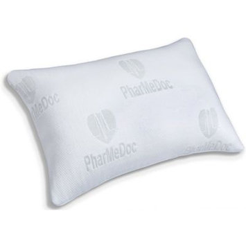 PharMeDoc Overstuffed Shredded Memory Foam Pillow w/ Washable Case - Ultra Soft Custom Relief for Back, Stomach & Side Sleepers - Hypoallergenic Breathable Neck Support (Queen)